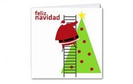 Tarjeta Díptica Navidad Árbol Cuadrada (10 unidades)