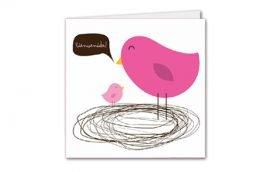 Tarjeta Díptica Pájaro Mujer Cuadrada (10 unidades)
