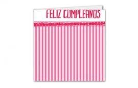 Tarjeta Díptica Cumpleaños Rayas Mujer Cuadrada (10 unidades)