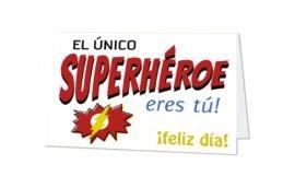 Tarjeta Díptica Papá Super Héroe Horizontal (10 unidades)